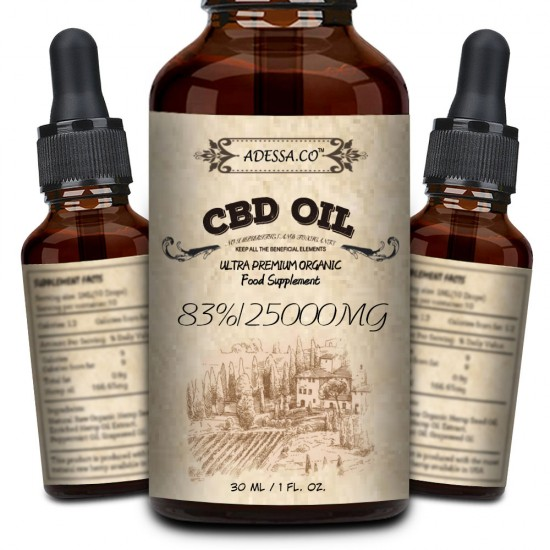 ADESSA.CO C-B-D oil Drops, 25000mg 83% 30ml, Made in Slovenia, 2020 New formula