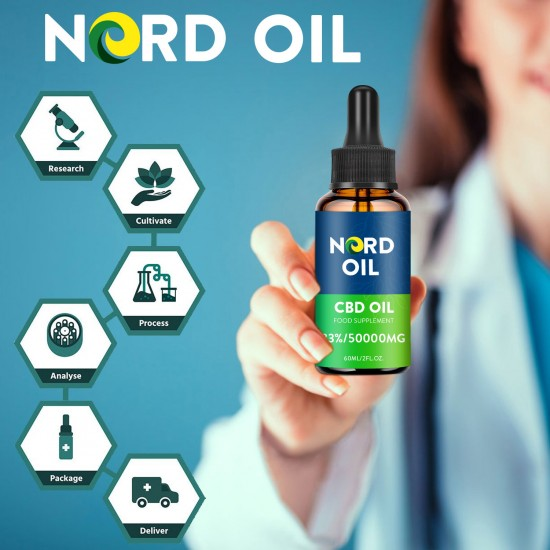Nord Oil C-B-D oil Drops, 50000mg 83% 60ml, 2021 New formula