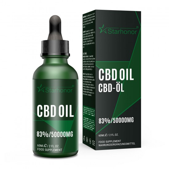 Starhonor 50000mg 83% C-B-D Oil 60ml, High Strength Hemp Extract, Made in USA