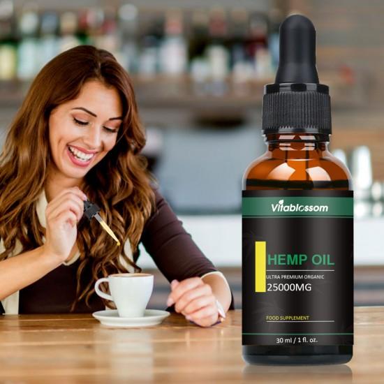 Vitablossom Hemp Oil Drops, 25000mg 83% 30ml